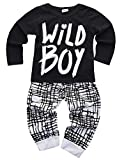 Baby Boys Clothes Set Long Sleeve Wild Boy T-Shirt Pants Outfit Winter Spring (18-24 Months, Black)