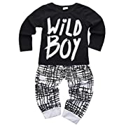 Baby Boys Clothes Set Short Sleeve Wild Boy T-Shirt Pants Outfit Winter Spring, Black, 0 - 6 Months (Tag Size 70)