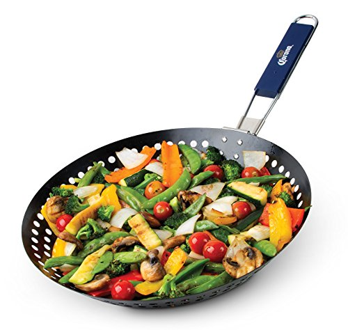 grill skillet with folding handle - 1