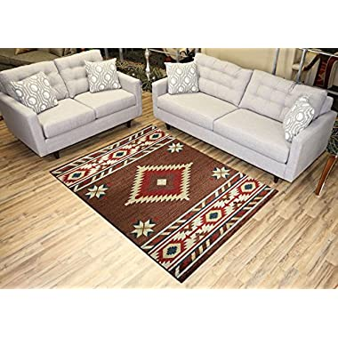 Nevita Collection Southwestern Native American Design Area Rug Rugs Geometric (Brown, 5 x 7)