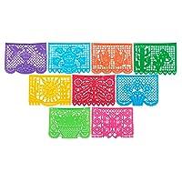 Papel lleno de deseos Papel plástico grande Banner de Picado - Paquetes de fiesta - 15 pies de largo /9 paneles - Diseños como se muestra (5pk)