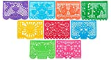 "Toys : Paper Full of Wishes ""Festival Mexicano Large Plastic Papel Picado Banner, 9 Multi-Colored Panels 15 feet Long"