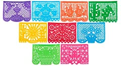 This Large Plastic Papel Picado Banner is perfect for your next celebration or Fiesta! This Plastic Banner includes 9 panels and is over 15 feet long hanging! This Mexican Plastic Papel Picado is Made in Mexico by artisans exclusively for Pap...