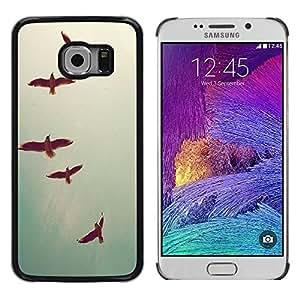 Be Good Phone Accessory // Dura Cáscara cubierta Protectora Caso Carcasa Funda de Protección para Samsung Galaxy S6 EDGE SM-G925 // Birds Sky Teal Freedom Deep Vignette