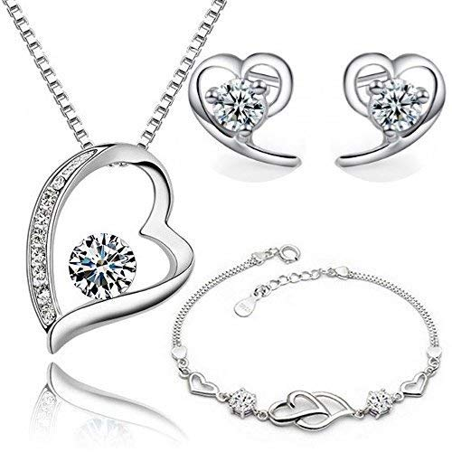 Heart Set with White Zirconia Crystals Pendant Necklace 18