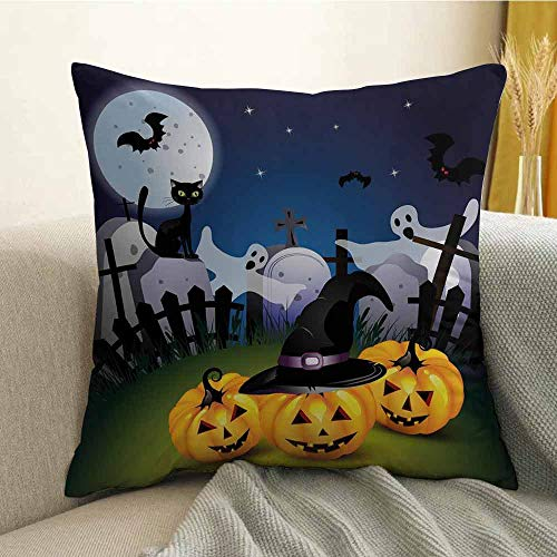 FreeKite Halloween Bedding Soft Pillowcase Funny Cartoon Design with Pumpkins Witches Hat Ghosts Graveyard Full Moon Cat Hypoallergenic Pillowcase W16 x L16 Inch Multicolor -