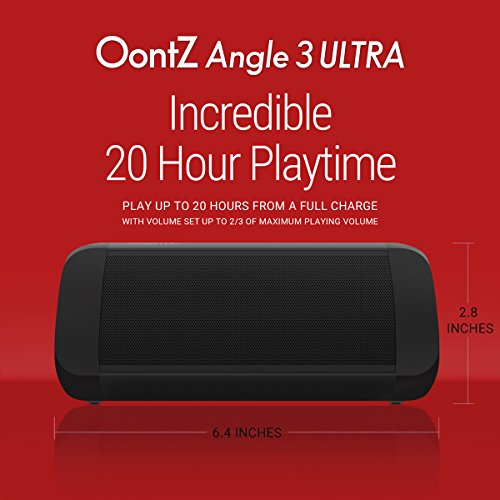 OontZ Angle 3 Ultra : Portable Bluetooth Speaker 14-Watts Deliver Bigger Bass and Hi-Quality Sound, 100ft Wireless Range, Play Two Together for Music in Dual Stereo, IPX-6 Splashproof Black