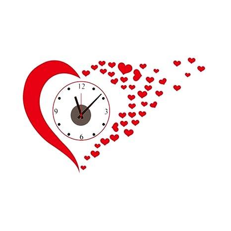 BESTOYARD Amor Corazón Pegatinas de Pared Relojes Tatuajes de Pared Sala de Estar Decoración del hogar