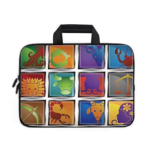Bag Computer Wheeled Icon (Astrology Laptop Carrying Bag Sleeve,Neoprene Sleeve Case/Zodiac Sign Icon Frame Astrology Elements Character Forecast with Stars Graphic Home/for Apple MacBook Air Samsung Google Acer HP DELL Lenovo)
