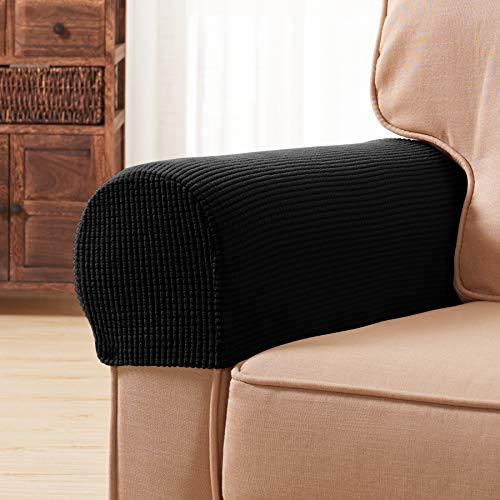 Subrtex Spandex Stretch Fabric Armrest Covers Anti-Slip Furniture Protector Armchair Slipcovers for Recliner Sofa Set of 2?Black?