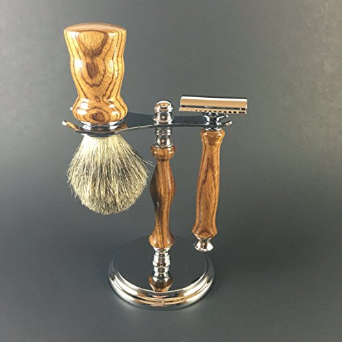 Shaving Kit Hand-crafted from Zebrawood by Always Turning Woodworks