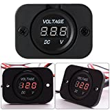 XCSOURCE Universal Digital Display Voltmeter Waterproof Voltage Meter Red LED for DC 12V-24V Car Motorcycle Auto Truck Red MA671