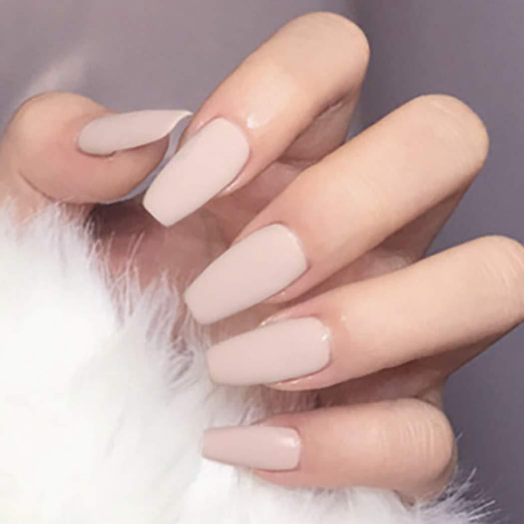 Brishow Künstliche Nägel Ballerina Matt Falsche Nägel Pure Color Acryl  Drücken Full Cover Stick auf die Nägel 25 Stück für Frauen und Mädchen  Beige