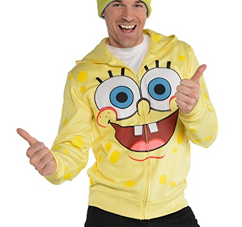 Spongebob Costumes Adult (SpongeBob SquarePants Zip-Up Costume Hoodie (Adult L/XL))