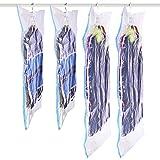 SANTREST Hanging Vacuum Seal Storage Bag Clear Space Saver Bags Closet Organizer for Clothes Dress Set of 4(2 Short 41.3''x27.6''/105 x 70 cm,2 Long 57.1''x27.6''/145 x 70cm)