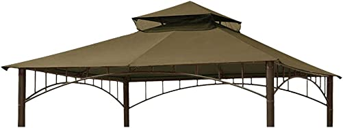 Eurmax 10FT x 10FT Double Tiered Gazebo Replacement Canopy Roof Top Khaki