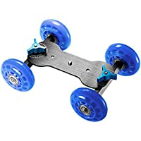 Neewer Professional Tabletop Mobile Rolling Slider Dolly Car Skater Video Track Rail for Digital SLR Cameras & Video Camcorders/LED Lights / flash light (Blue)