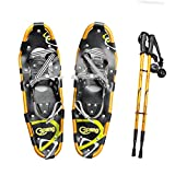 """Gpeng Snowshoes 21""""/ 25"""" / 27"""" / 30"""" for Men Women Youth with Pair Antishock Snowshoeing Poles + Free Carrying Tote Bag, Carbon Steel Toe"""