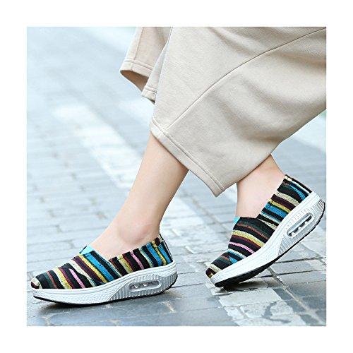 Mode Canvas Dikke Bodem Helling Hakken Slippers Enkele Schoenen Lichtgewicht Fitness Schoenen Door Btrada Zwart