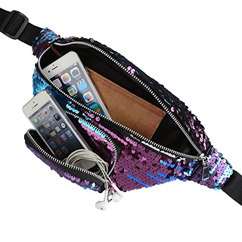 for Black amp;purple CHIC Pack Bag Blue Leather Sequin PU Fanny Paillette Bag DIARY Waist Women Glitter Bum amp;Red qwT76qn1xA