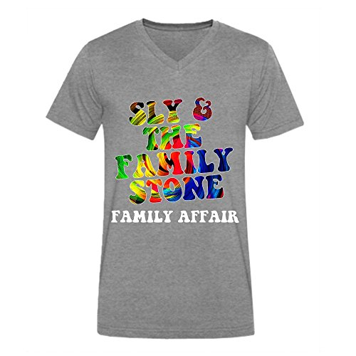 Sly Family Affair Men Tees V Neck Grey (Wendy Adams Family)