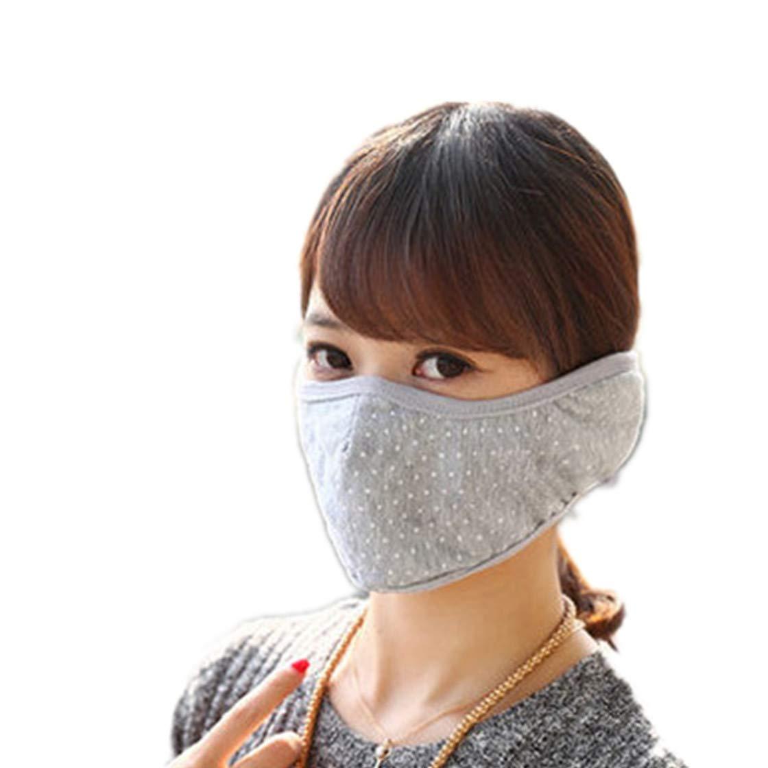 Winter Polka Dot Cotton Ear Loop Face Mouth MaskWarmer Ear Muffs for Outdoors