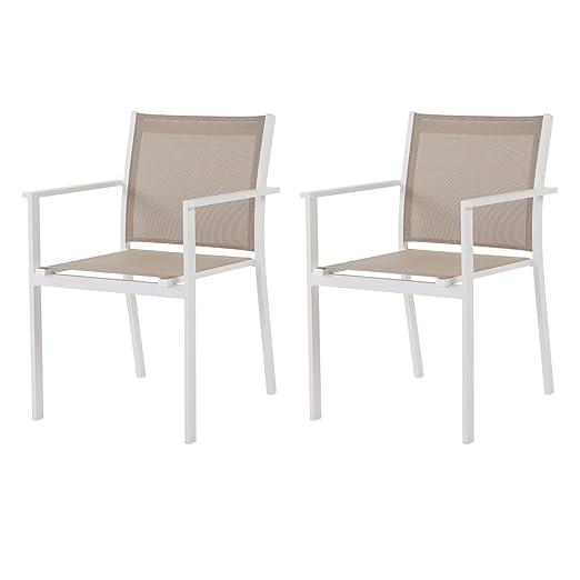 Lote de 2 sillones Bale champán - Aluminio y tela: Amazon.es ...