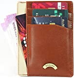 VOGARD Tan Genuine Leather Specially Made Money Clip Wallet