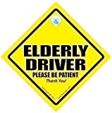 Elderly Driver Car Sign, Caution Elderly Driver Car Sign, Automobile Sign, Baby On Board Car Sign, Bumper Stciker, Elderly Driver, Elderly Driver Please Be Patient, Baby On Board Sign Style, Decal.