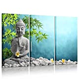 Kreative Arts - Large 3 Pieces Buddha In Meditation Artwork Canvas Prints Buddhist Statue in Zen Garden Pictures Paintings on Canvas Wall Art for Office and Home Decor 16x32inchx3pcs