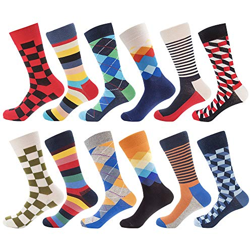 Lightweight Dress Socks - Bonangel Men's Fun Dress Socks-Colorful Funny Novelty Crew Socks Pack,Art Socks