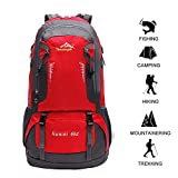 60 L Waterproof Ultra Lightweight Packable Climbing Fishing Backpack Hiking Daypack,Internal Frame Backpack,Handy Foldable Camping Outdoor Backpack Bag with a Rain Cover (Red, 60L)