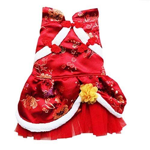 Dog Dress Clothes Chinese Cheongsam Style Christmas Winter Warm Floral Lace Sequins Skirt Tutu Dress Summer Small Dog pet Costume,Red,S,China