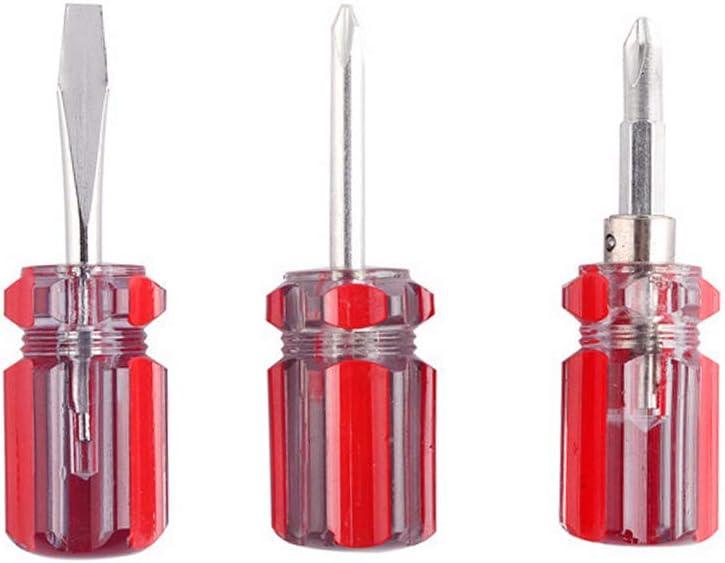 colore casuale Corto Stubby Cacciavite Repair Tools multifunzionale Mini phillips /& a taglio Cacciavite con manico in plastica 3/pezzi