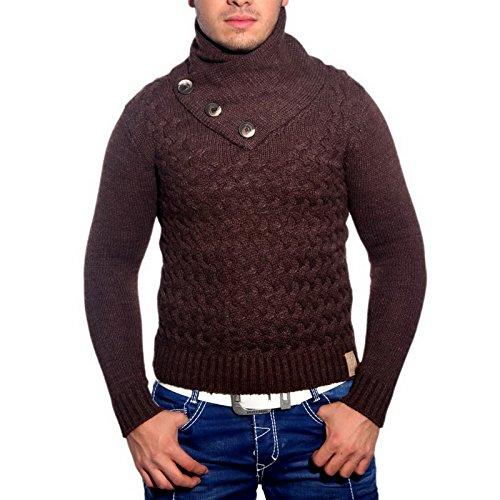 R-Neal 3158 Herren Pullover Grobstrick Schalkragen Pulli Sweatshirt Jacke Hoodie, Größe:L, Farbe:Braun