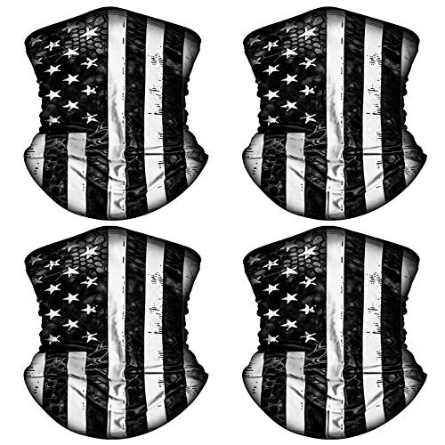4 Pack American US Flag Face Bandana Balaclava for Men Women, Sun UV Protection Reusable Half Mask Scarf Cycling Neck Gaiter
