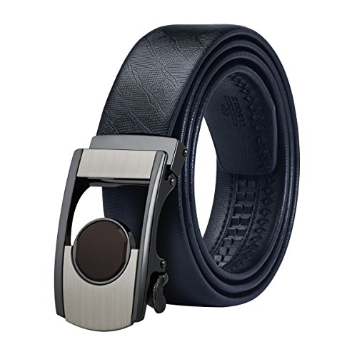 Dubulle Black Genuine Leather Belt for Men Removable Buckle Ratchet Belt Full Grain Detachable Automatic Buckle Belt (Detachable Buckle Belt)