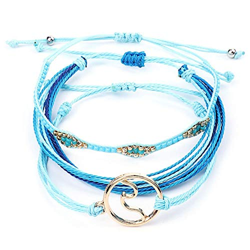 SUNSH 3PCS Handmade Surf Bracelets for Women Girls Wave Charms Hippie Boho Beach Friendship Bracelet Wax String Adjustable