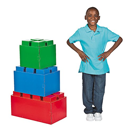 Fun Express - Block Party 3-D Brick Stand Ups for Birthday - Party Decor - Large Decor - Floor Stand Ups - Birthday - 3 Pieces