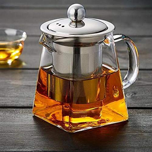 (Stainless Steel Infuser Filter Clear Heat Resistant Glass Pot - Teapots)