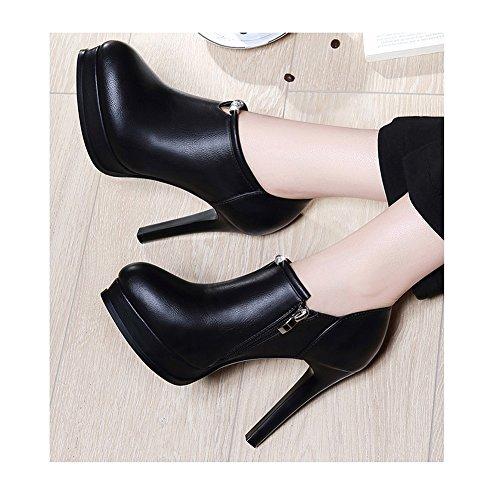 talons talons à Escarpin plate Chaussures noirs MUMA printemps hauts rondes avec hauts des chaussures chaussures et simples 5 taille à l'automne UK4 l'eau 5 forme imperméable EU37 sexy Mesdames de tEqBtwxd