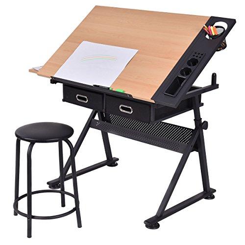 Marvelous Tangkula Drafting Desk Drawing Table Adjustable With Stool Creativecarmelina Interior Chair Design Creativecarmelinacom