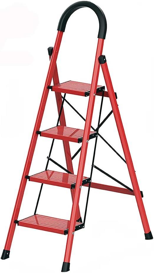 C-J-Xin Escalera Multiusos, Escalera de ingeniería Antideslizante Escalera de almacén de Metal Plegable Escalera de casa (Color : Red, Tamaño : 51.5 * 77 * 138CM): Amazon.es: Hogar