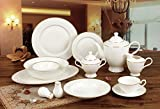 Royalty Porcelain 57-pc Banquet Dinnerware Set for 8, 24K Gold Premium Bone China (2MM-57)
