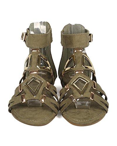 Sandale Gladiateur Femme Alrisco Simili Suède - Sandale Compensée Micro - Sandale Découpée Métallique - Gi53 Par Khaki Media Mix