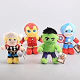 Iron Man Captain America Hulk Thor 8 - 9 Inch Toddler Stuffed Plush Kids Toys 4 Pcs/set