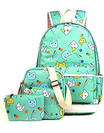 408ce7cff Kemy's School Backpack for Girls Set 3 in 1 Cute Kitty Printed Bookbag  14inch Laptop School
