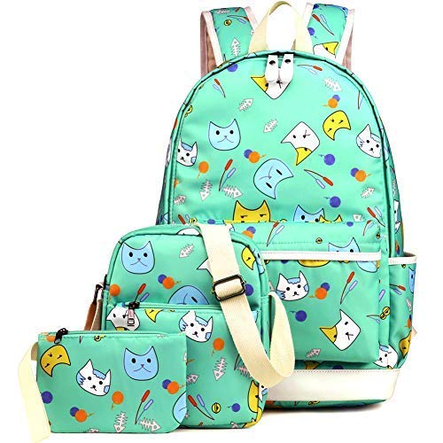 Kemy's School Backpack for Girls Set 3 in 1 Cute Kitty Printed Bookbag 14inch Laptop School Bag for Girls Water Resistant bag cute sunglasses for women bag canvas bag ()