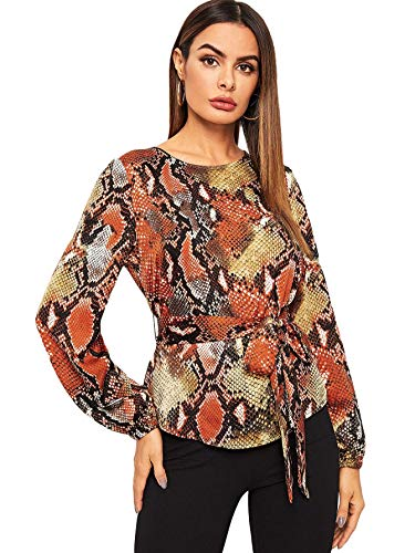 bb0515a3cad55e Milumia Women's Round Neck Belted Waist Long Sleeves Floral Print Peplum Top