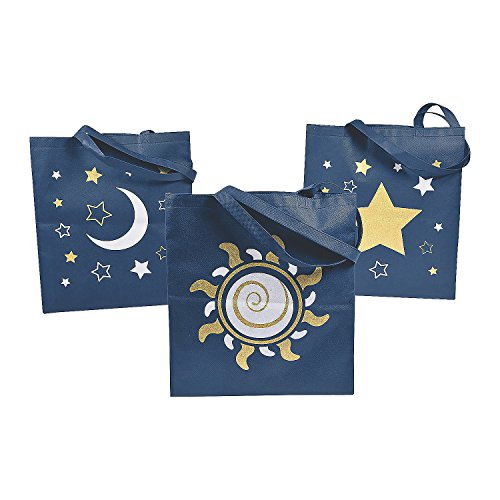 Fun Express Mystic Print Tote Bags | 12 Count | Great for Starry Night Party, Themed Birthday, Favors & Giveaways, Gift Ideas]()